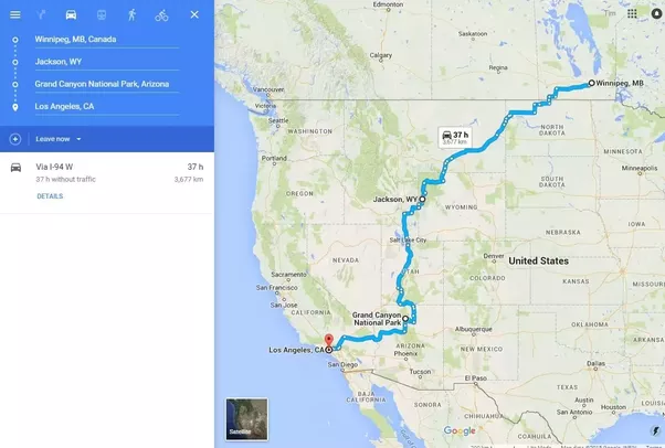 Which route would you take to drive from Winnipeg Canada to Los