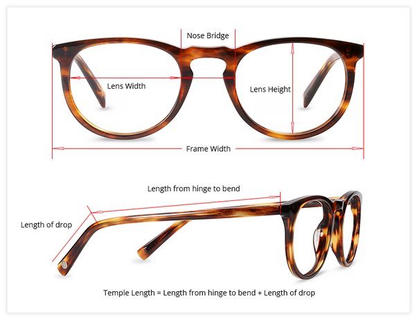 How is the eyeglass lens size measured, and how do I determine the ...