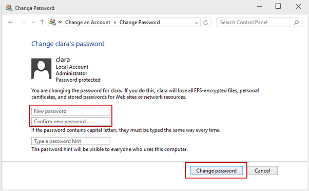 how to change administrator password on windows xp with command prompt