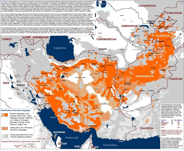 Is Persian Farsi Only Spoken In Iran Quora - Farsi language map