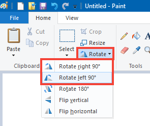 How to change a picture from portrait to landscape in Paint