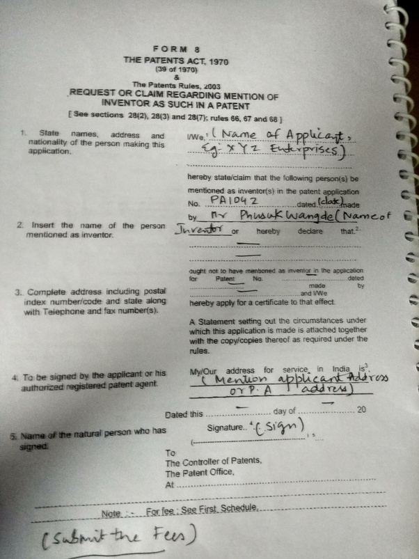 How to fill the form 8 in an Indian patent application - Quora