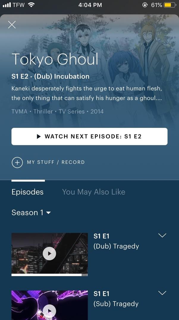 Is Tokyo Ghoul season 1 dubbed on Hulu? - Quora
