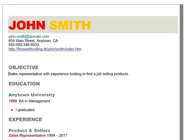 Is it appropriate to use color in a resume for a non-artistic job ...