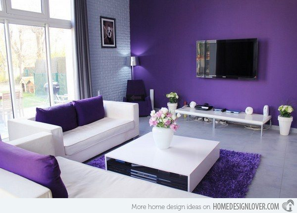 This Living Room Here Speaks To Me On An Emotional Level I Love Everything About It That Shade Of Purple The Accent Wall Is Very Close One In My