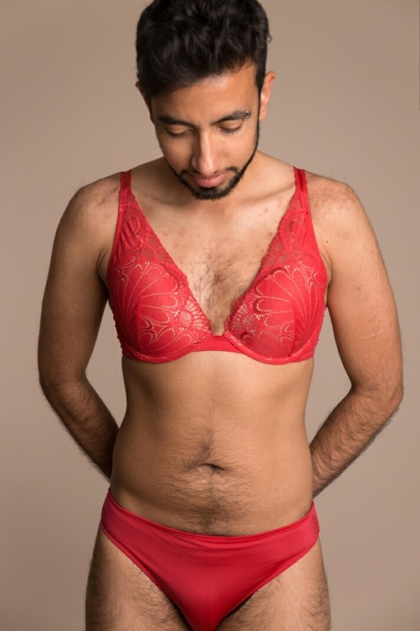 Some men might have fetish/kink with bras or other women's sexy lingerie.  They loved wearing bras for self-masturbation on bed.