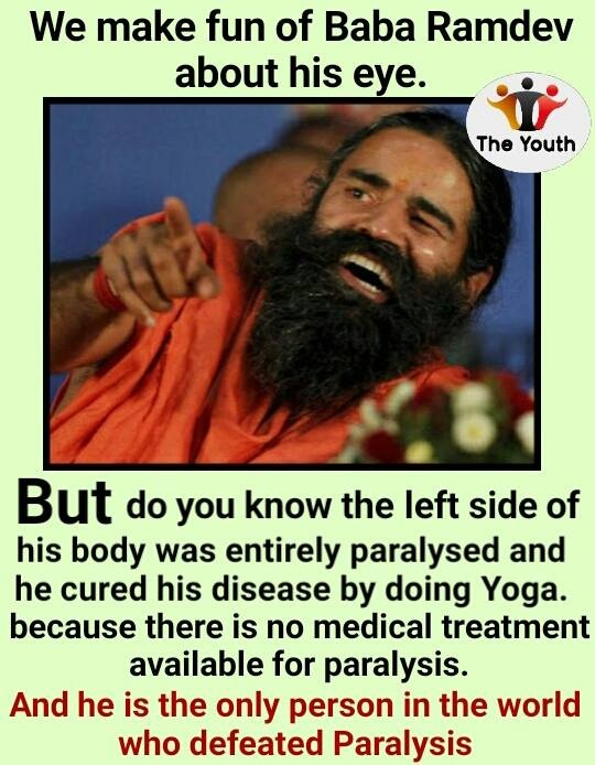 Why has Swami Ramdev been unable to cure his eye's wink problem with