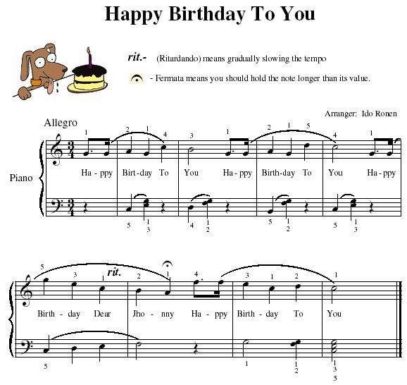 What Are The Piano Notes For Playing 'Happy Birthday'?
