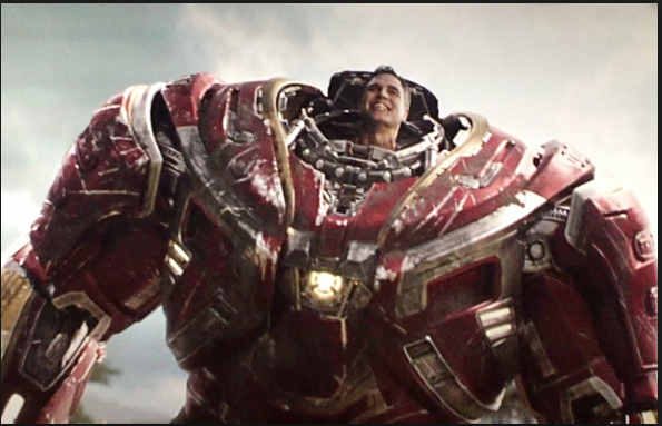 Mark Ruffalo as Bruce Banner in Hulkbuster Armor from Iron Man in Avengers Infinity War a Marvel movie.