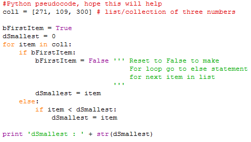 How to write the code to find the minimum number out of
