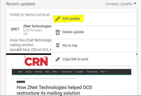 how to edit company profile on linkedin