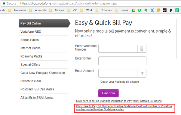 How to pay vodaphone bill post porting to other network - Quora