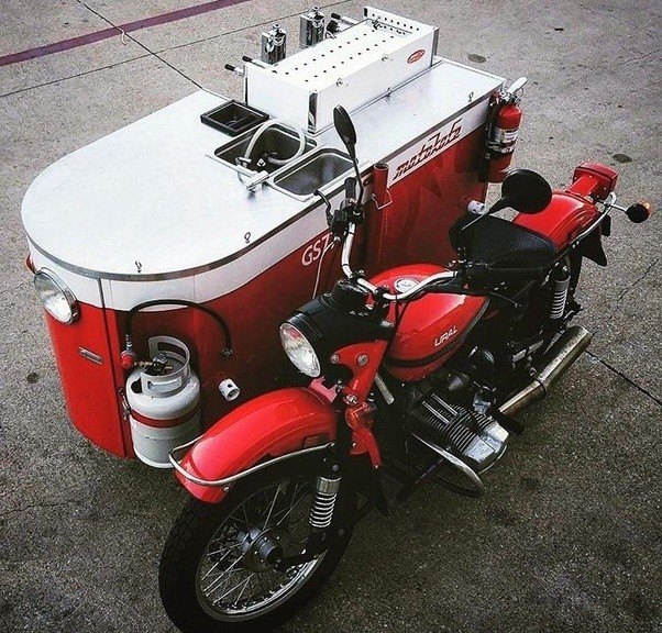 Heres One Where The Sidecar Was Switched For A Mobile Coffee Shop