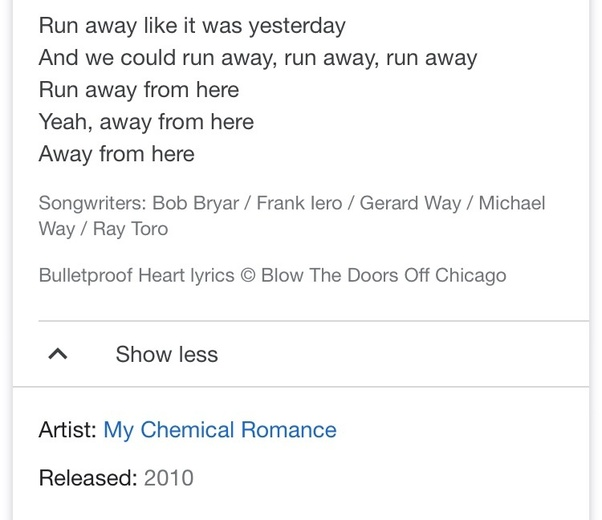 "What song has the lyrics, ""run away run away run away run"