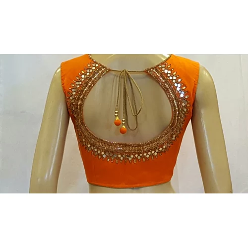 fd0578048 Silk Blouse Designs with Mirror Work. Embroidery Designer Blouse for saree
