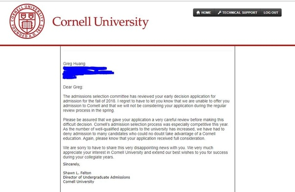 What does your college acceptance or rejection letter looks