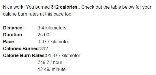 How Many Calories Are Burned By Running 3 4 Km In 25