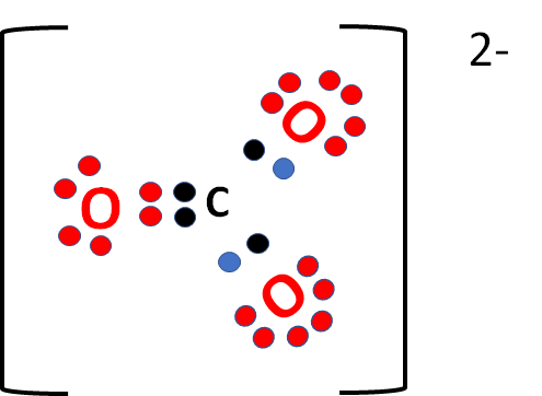 4 from carbon (black dots) and 3 x 6 from oxygen (red dots), making 22  valence electrons plus an extra 2 (blue dots) for the
