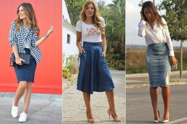 What kind of tops look good with knee length jeans skirts for Matching denim shirt and jeans