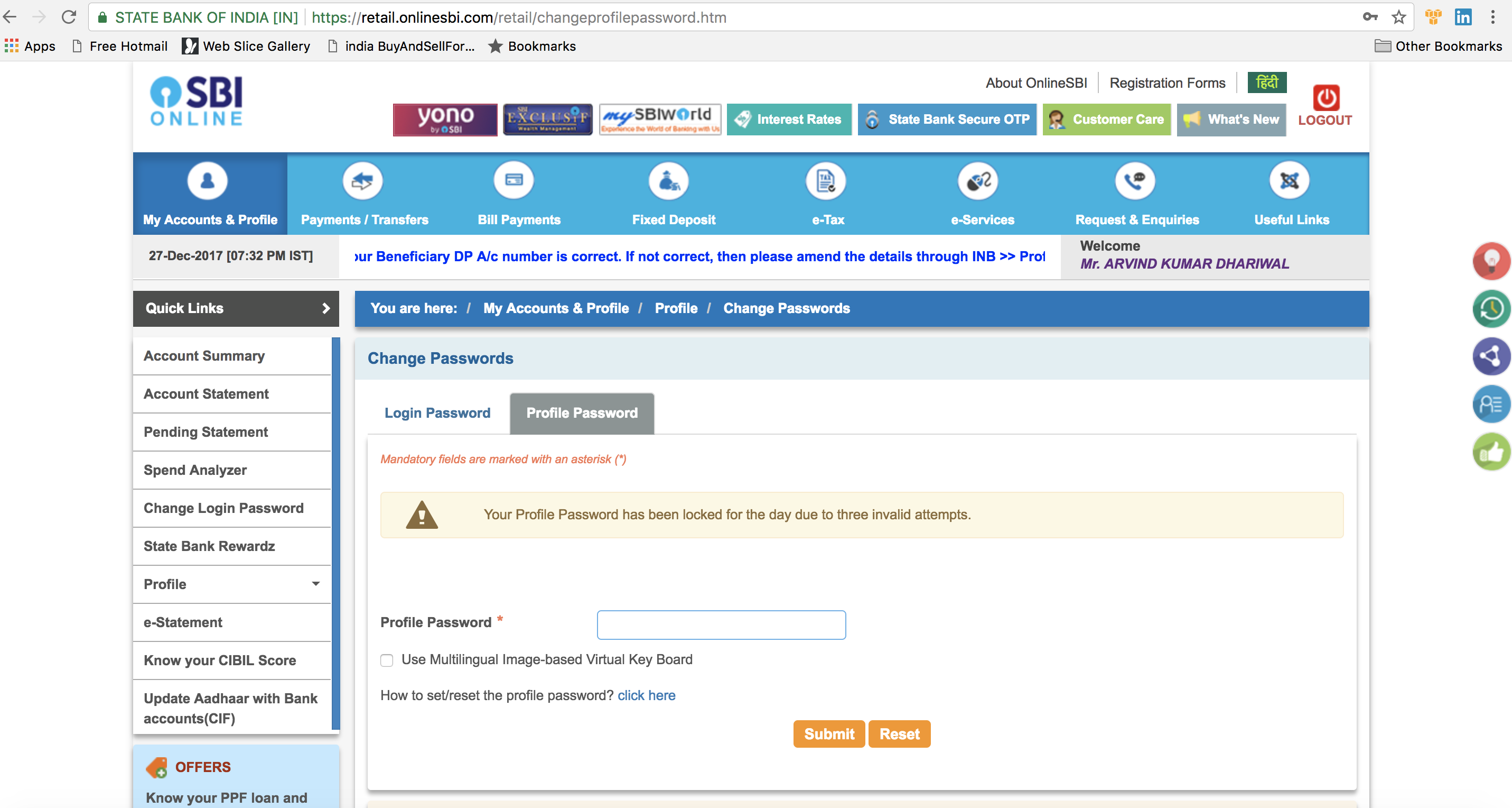 I forgot my SBI net banking profile password? How can I get the profile  password - Quora