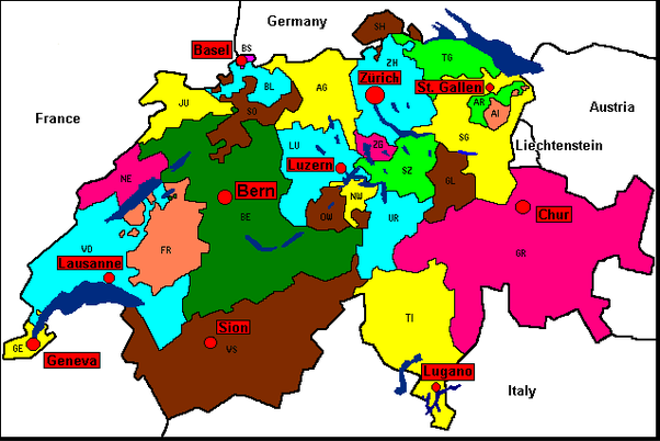 in regional to those citiespart of the country this map below illustrate the language not the cantons the second map is all of switzerland cantons