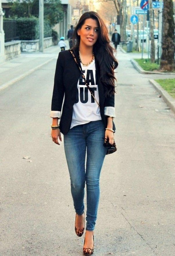 Can I wear blue jeans with a black jacket?