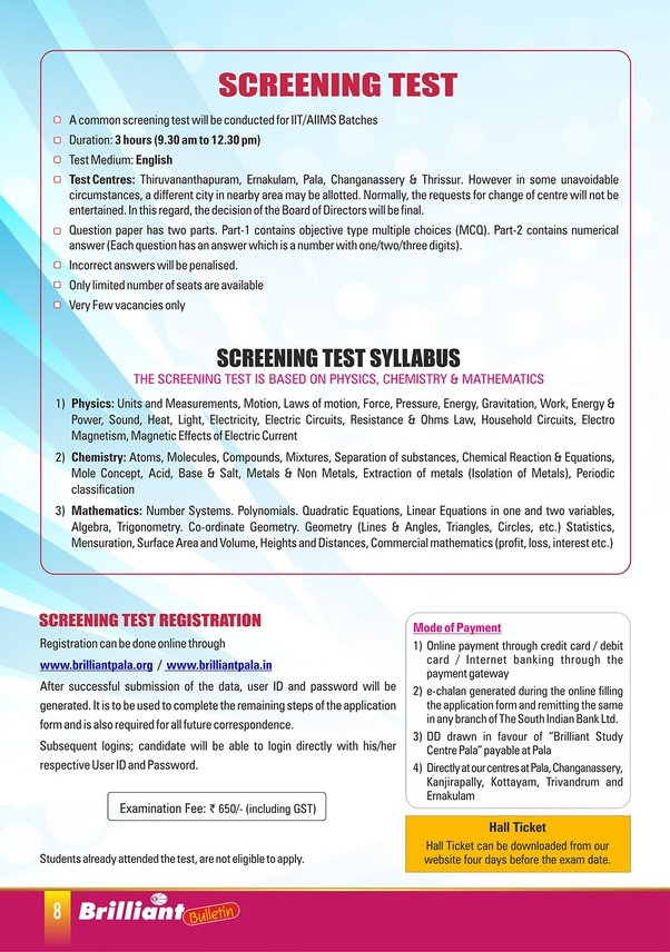 What is the syllabus of the screening test for the class 10