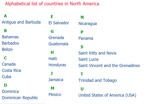 List Of Countries In North America