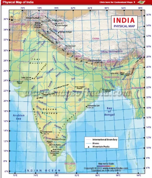 4. River Map Of India