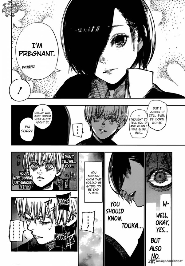Does Touka in Tokyo Ghoul get pregnant? - Quora