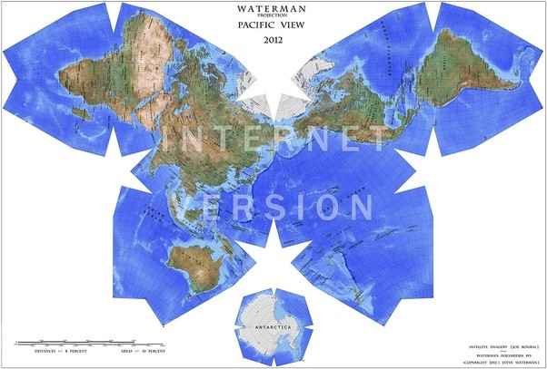 Which map of the world is the most accurate in sizes and shapes quora waterman butterfly projection wikipedia gumiabroncs Choice Image