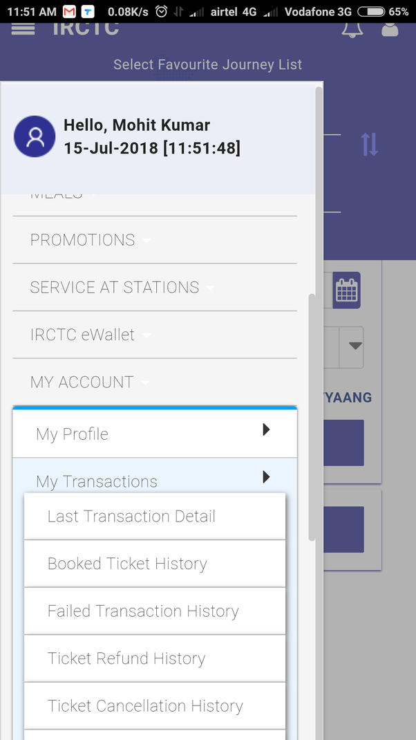 How To See The Booked Ticket History On The New Website Of Irctc Quora