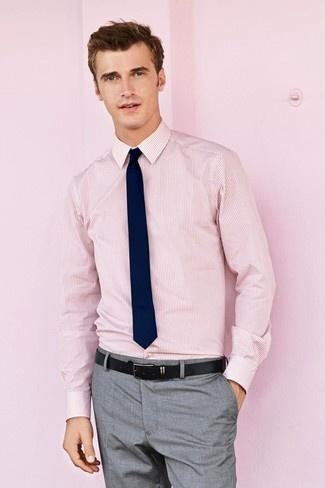 89c4646c6891f Source: Men's Pink Vertical Striped Dress Shirt, Grey Dress Pants, Navy  Tie, Black Leather Belt