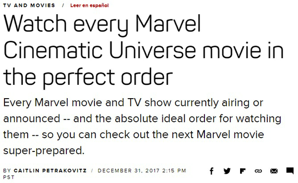What is the chronological order to watch Marvel movies? - Quora