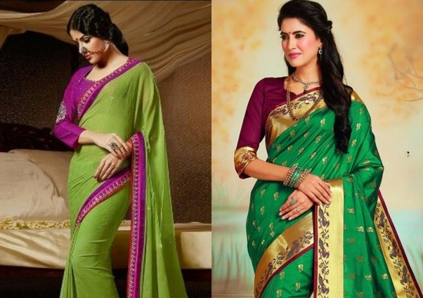Which Colour Blouse Will Suit A Green Saree?