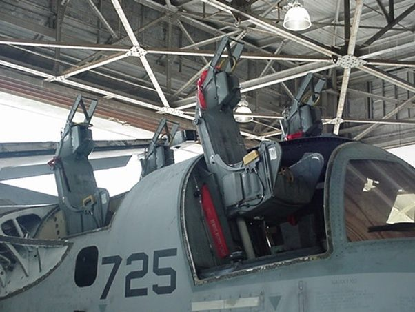 The photo here shows the Douglas Escapac seats partially lifted out of the aircraft during maintenance. The canopies had been removed for this. & Have there ever been any incidents in which a fighter jet canopy ...