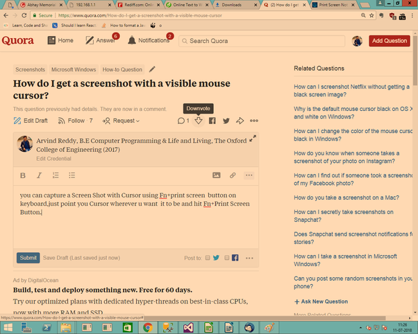 How to get a screenshot with a visible mouse cursor - Quora