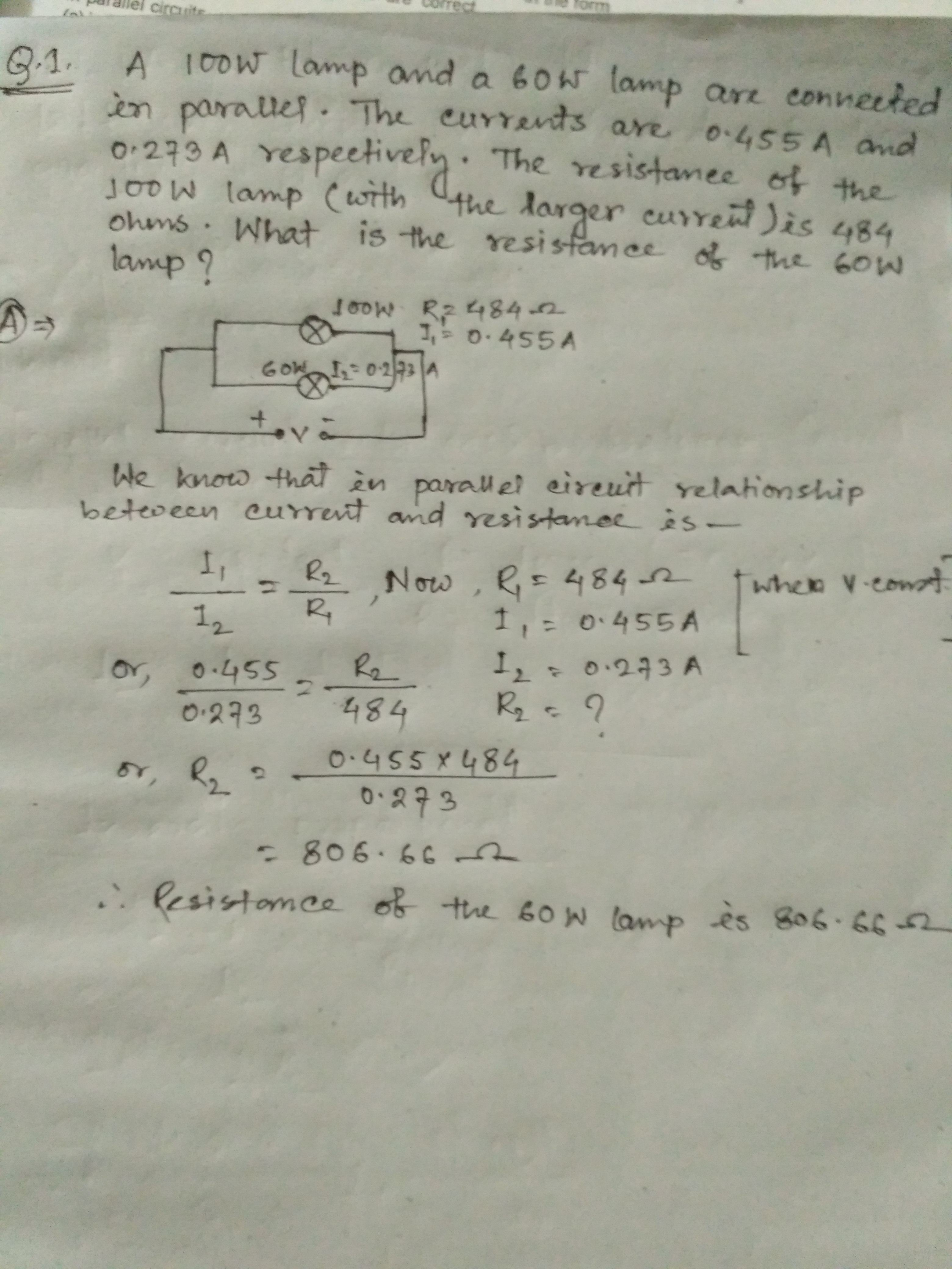 In A Parallel Circuit The Relation Between Current And Its Is It Correct