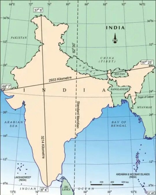What Is Latitude And Longitude Extent Of India