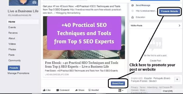 """In order to boost a post on Facebook, simply click on the """"Boost Post""""  button below each post, then set your audience, budget, and duration."""