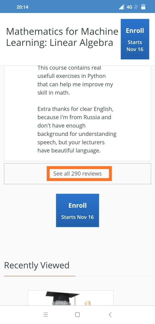 What is your review of Coursera's course on Mathematics for