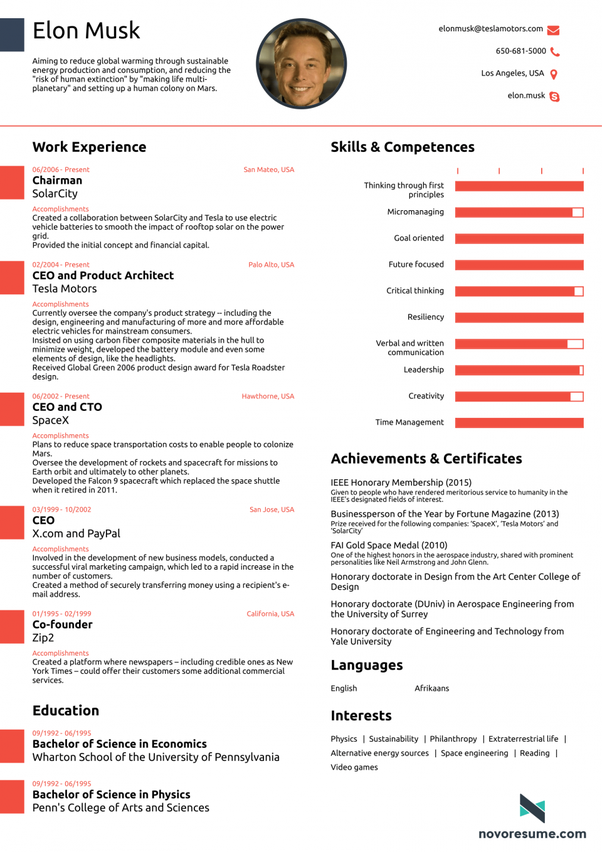 Here Is The Pic Of One Page Resume Of Elon Musk.  Ideal Resume