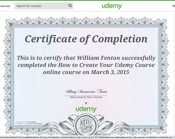 Does udemy provide certificates upon completion of any course quora udemy offers completion certificates here is an example bellow yelopaper