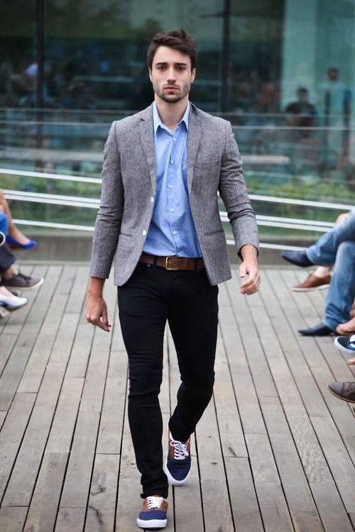 grey blazer navy pants