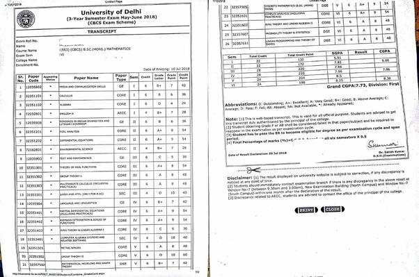 how does du u2019s marksheet look like under cbcs system