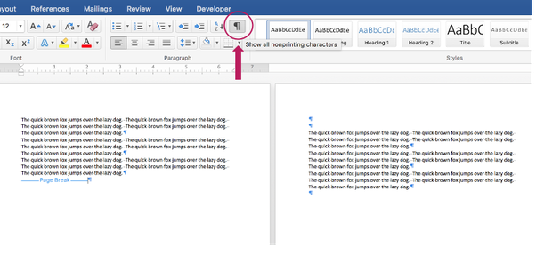 microsoft word how to delete a page break