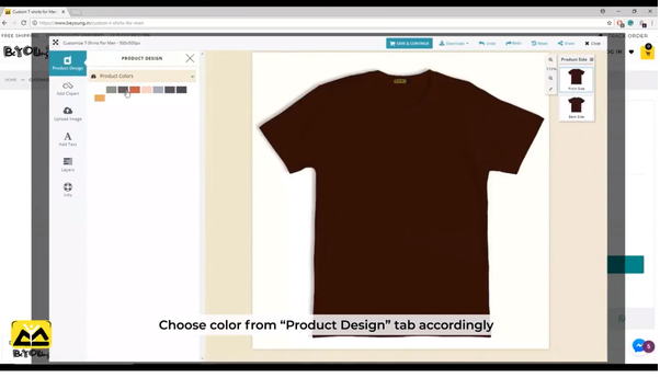 16f99e11a Choose the color of the t-shirt followed by the side of the same. Further,  if you are seeking to insert the image then make sure you have a  high-quality ...