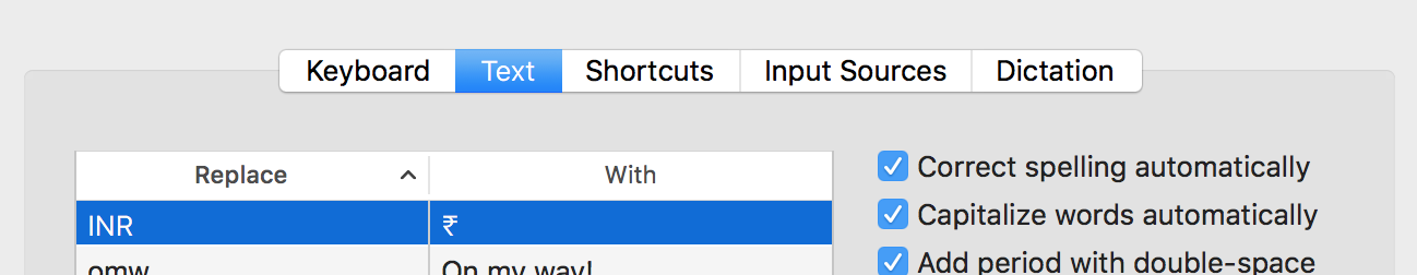 What is the keyboard shortcut to type Rupee symbol in Mac