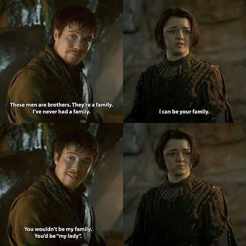 game of thrones arya and gendry relationship trust