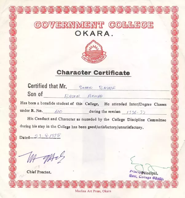 What is the format for character certificate for admission in du it looks something like this yadclub
